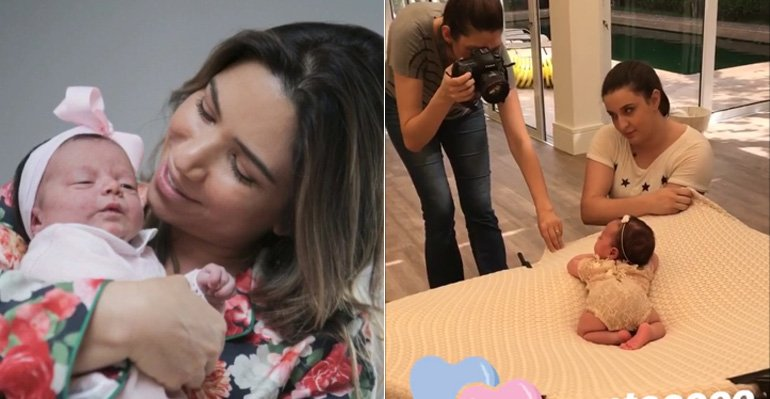 Ensaio Patricia. Foto do site da Caras Brasil que mostra Patricia Abravanel festeja o ensaio newborn da filha. Assista ao vídeo aqui