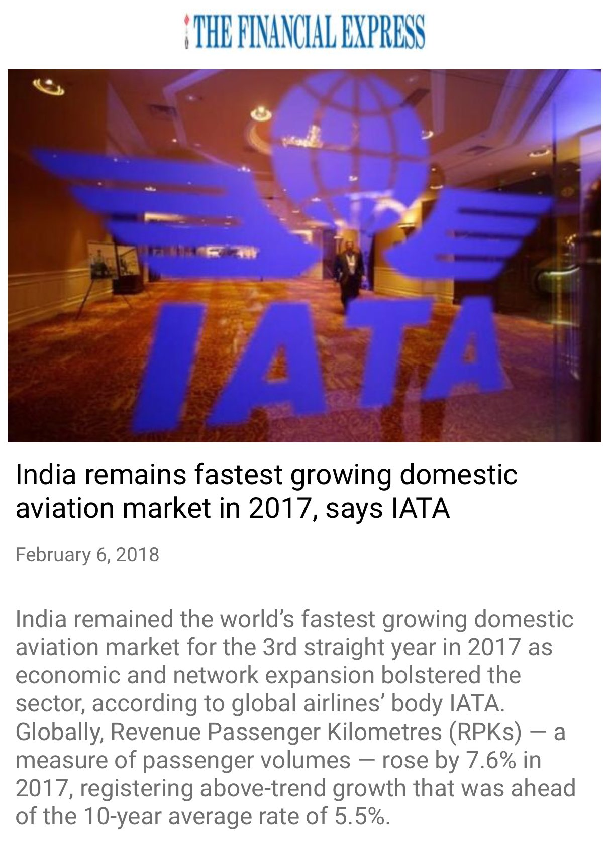 India remains fastest growing domestic aviation market in 2017, says IATA.  https://t.co/cetZlNMtwJ  via NMApp https://t.co/n3OGIGpYal