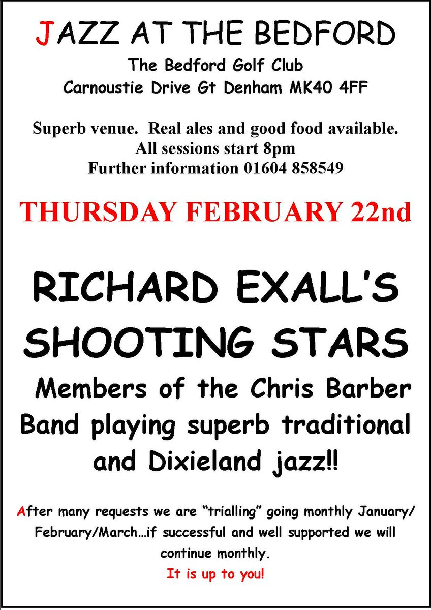 "test Twitter Media - JAZZ NIGHT - THURSDAY 22ND FEBRUARY 2018  After many requests we are ""trialing"" going monthly for January/February/March…If successful and well supported we will continue monthly…it is up to you!  Tickets are on sale now at £10 each, please call 01234 320 022 to get yours! https://t.co/PiRgl8BM7F"