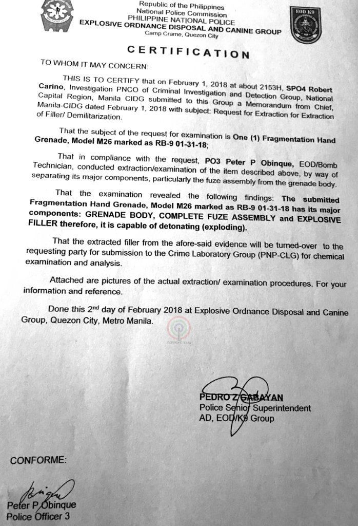 Look Certification Issued By The Pnp Explosive Ordnance Disposal