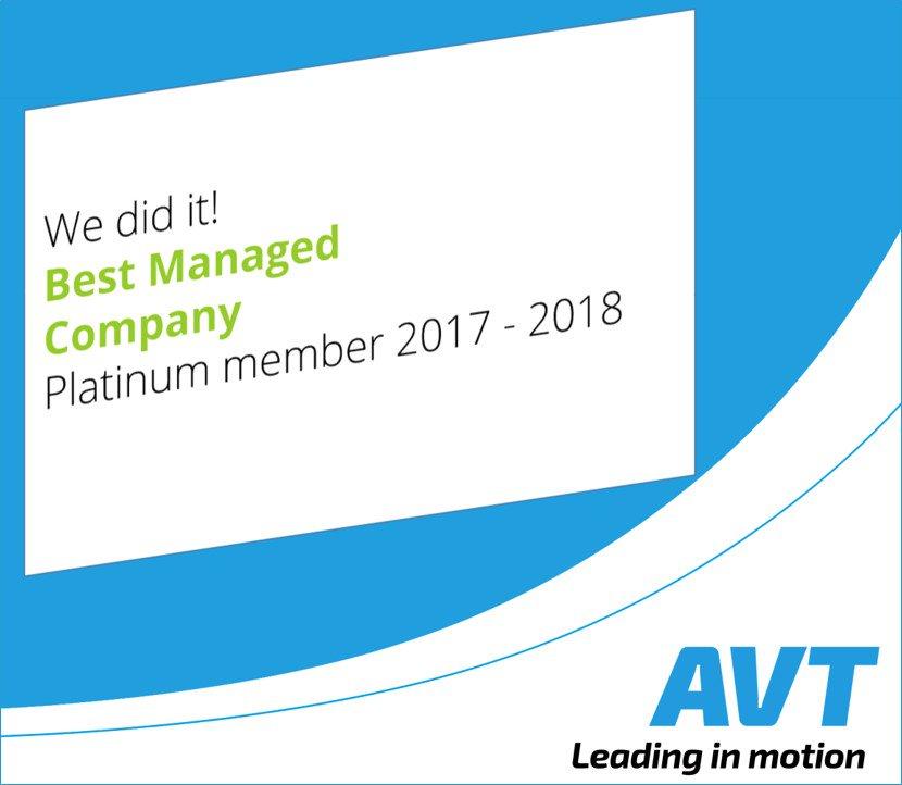 test Twitter Media - We did it (again)!  AVT is wederom uitgeroepen tot Best Managed Company. Trots op dit #platinum #membership. Dit hadden we niet kunnen bereiken zonder al onze fantastische medewerkers! DANK!  #AVT #leadinginmotion #weknow #wecare #wecreate https://t.co/I2ZqOfY8pL