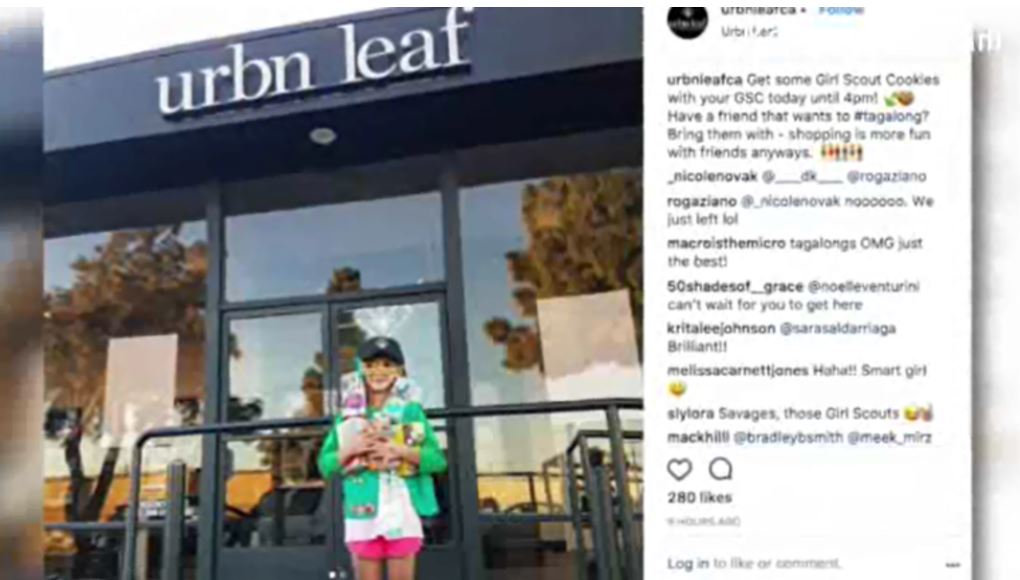 9-year-old girl sells Girl Scout cookies outside marijuana dispensary