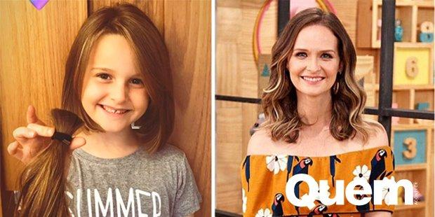 Fernanda Rodrigues. Foto do site da Quem Acontece que mostra Filha de Fernanda Rodrigues corta os cabelos e faz doação para crianças com câncer.