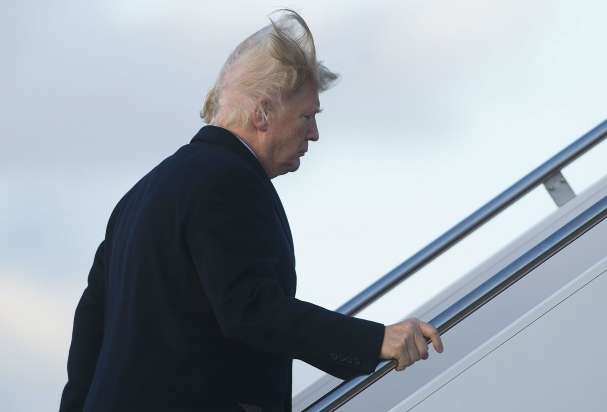 Footage of Donald Trump's bad hair day goes viral