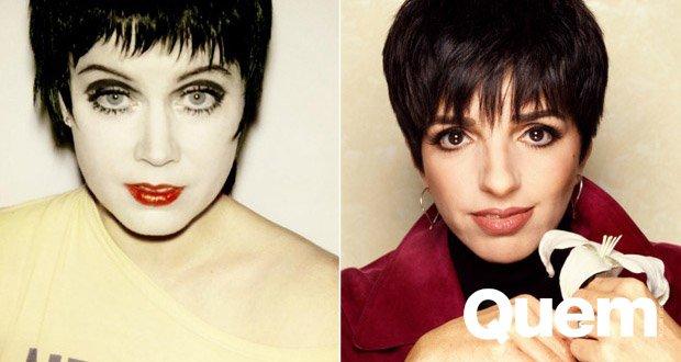 Ensaio. Foto do site da Quem Acontece que mostra Reconhece? Amy Adams 'encarna' Andy Warhol, Liza Minelli e outros ícones em ensaio
