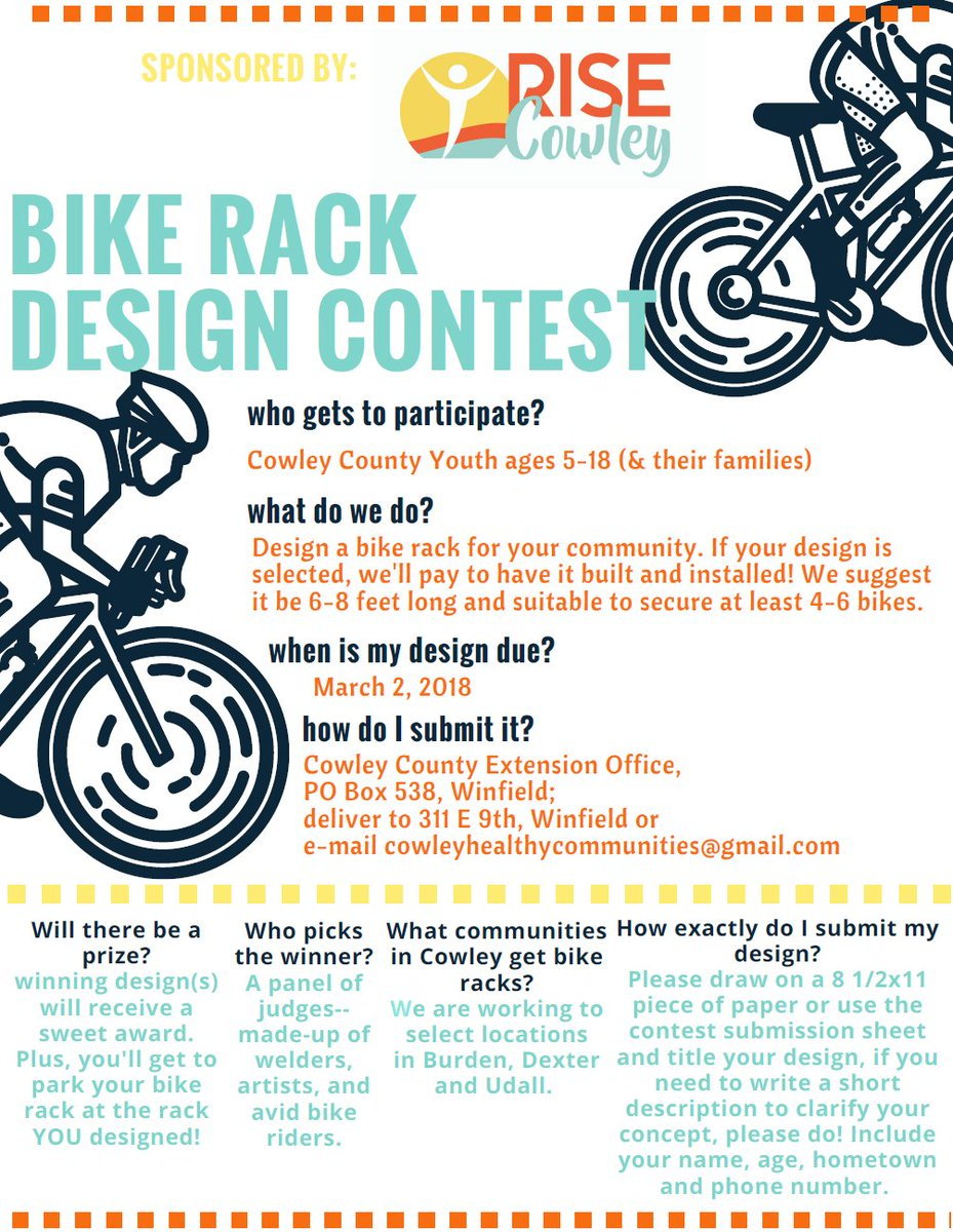 "test Twitter Media - RISE Cowley is sponsoring ""Bike Rack Design Contest"" for youth in Cowley County, ages 5 – 18 (and their families). If your design is selected, they'll pay to have it built and installed! Check out the link to find out more, good luck! https://t.co/3Q1rJjxfkJ https://t.co/V6aSPAtR1M"