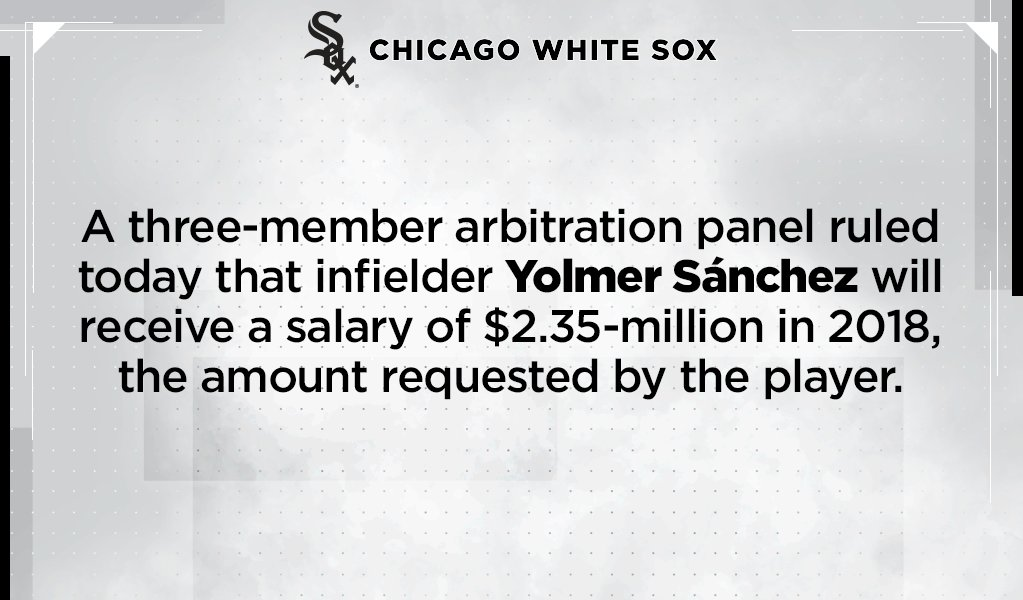 #WhiteSox announce Yolmer Sánchez arbitration ruling: https://t.co/m3CpNIGNtk