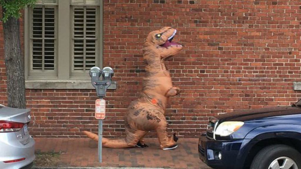Charges dropped for Charleston woman in T-rex costume who scared carriage horses