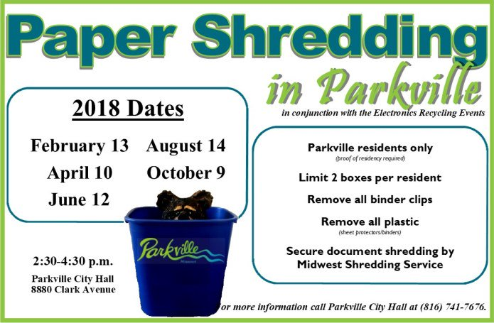 test Twitter Media - Less than one week until the first paper shredding event of 2018! The truck will be parked at City Hall Tuesday, February 13th from 2:30-4:30pm. Limit 2 boxes per resident. @parkvillemo residents only. Proof of residency required. https://t.co/Z6Xqi8vhAV