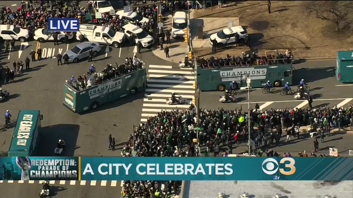 Super Bowl Parade Kicks Off As Eagles Fans PackCity