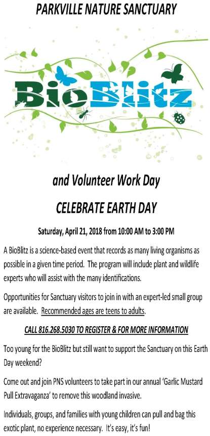 "test Twitter Media - New in 2018! Check out Bio Blitz @parkvillemo Nature Sanctuary on Earth Day, Saturday, April 21st from 10am-3pm. Recommended for teens & adults. Young kids can celebrate Earth Day too by participating in our ""Garlic Mustard Pull Extravaganza."" Info at https://t.co/4HM3xQFtGi https://t.co/tLx7Il03UF"