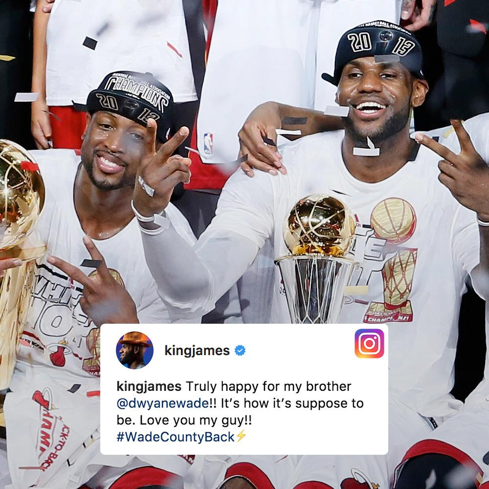 LeBron wishing D-Wade well. https://t.co/2wqC0ZBoEc