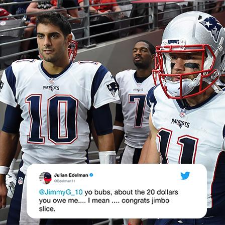 Jimmy G is getting paid.  Which reminds Julian Edelman ... https://t.co/6i2e0E8dZx
