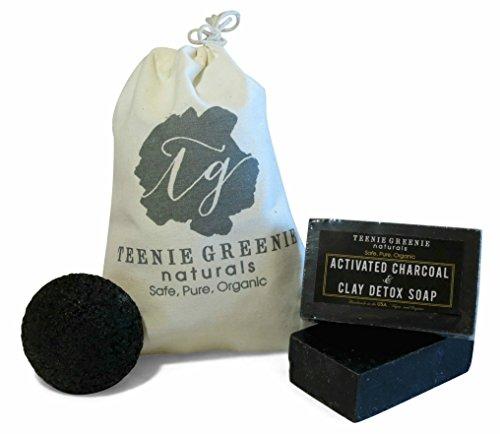 #energy Activated Charcoal Soap 2 Bars & Facial Konjac Sponge Handmade in...