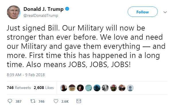 JUST IN: President Trump tweets that he has 'just signed bill' to fund the government. https://t.co/hDVuV8JM5b
