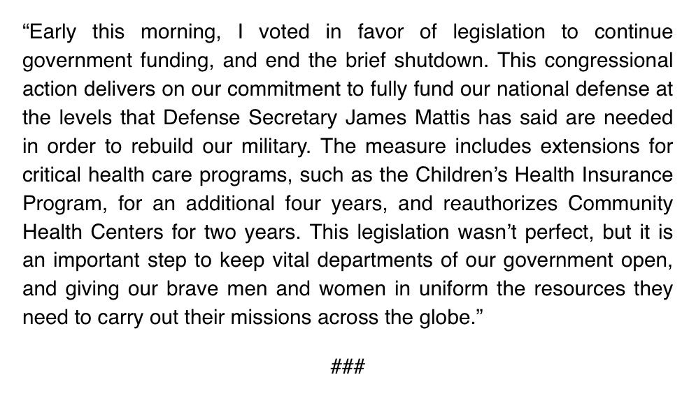Read my official statement on the passing of the Bipartisan Budget Act below: https://t.co/UeD3unttMh