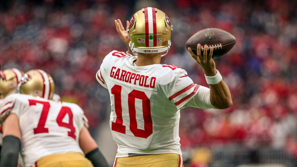 Relive the best of @JimmyG_10 (so far) in #49ers red and gold ��   ��  https://t.co/3X1fMEAAb2 https://t.co/k61ydUsXIJ
