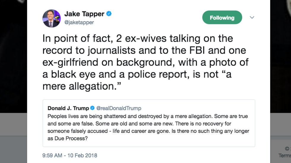 Jake Tapper torches Trump: A photo of a black eye isn't a 'mere allegation' https://t.co/PoglOSINoy https://t.co/rqcVEw3QU0