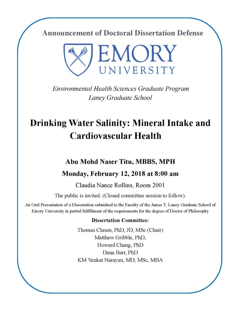 test Twitter Media - Learn about drinking water salinity and how it relates to mineral intake and cardiovascular health as Abu Mohd Naser Titu, MBBS, MPH, defends his doctoral dissertation-Monday (2/12) at 8am! https://t.co/PooegCA9fv