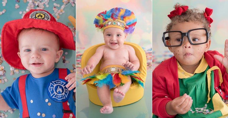 Ensaio Carnaval. Foto do site da Caras Brasil que mostra Fofura! Filhos de famosas se divertem no primeiro carnaval. Veja as fotos do ensaio aqui