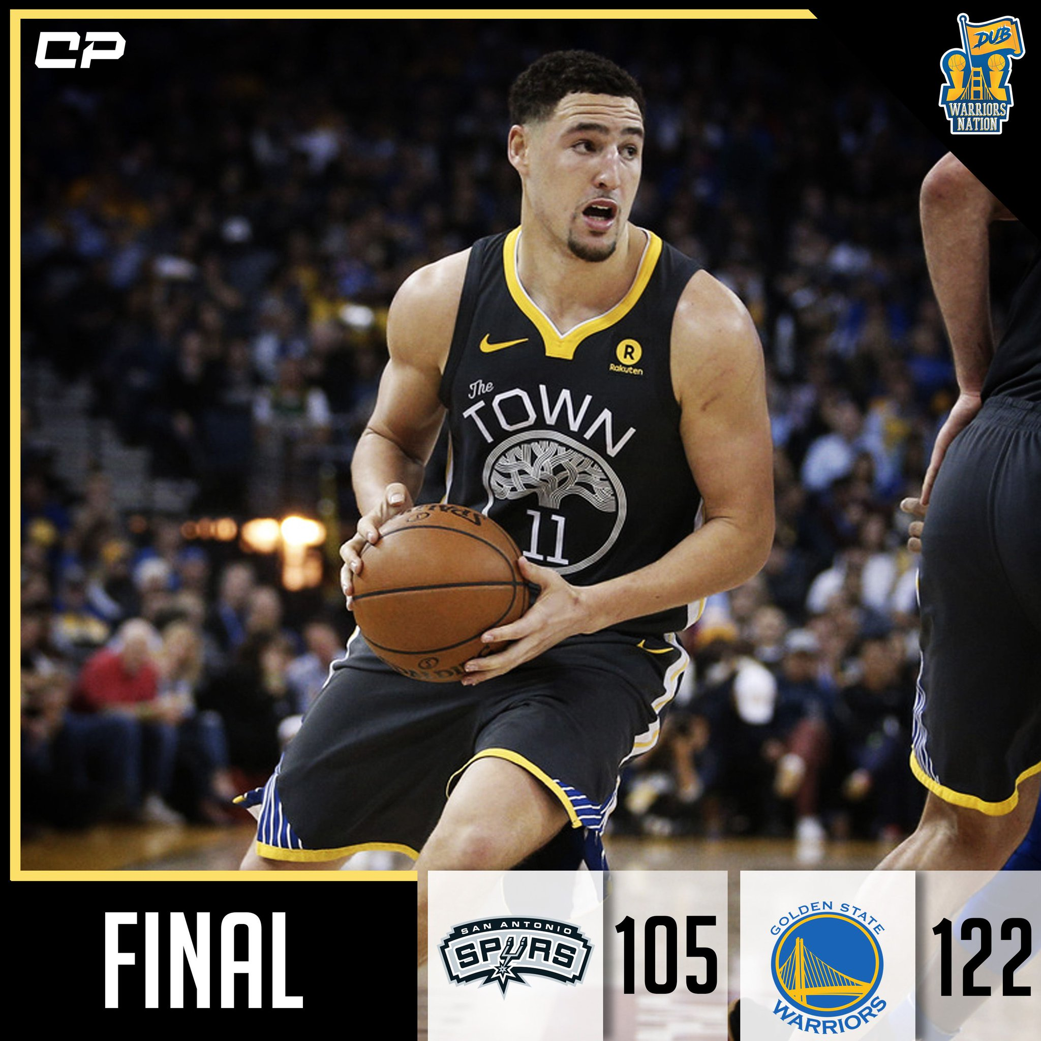 [FINAL] Warriors defeat Spurs, 122-105.  Klay Thompson: 25 PTS, 3 REB  HIGHLIGHTS: https://t.co/PLr9sX4I1U https://t.co/8rnr6lEIcf
