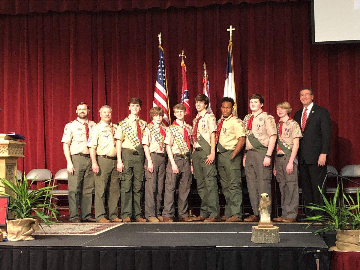 I'm so proud of the 7 young men who are now Eagle Scouts.Thrilled to speak at the Eagle Scout Court of Honor on Scout Sunday for Troop 8 at FBC Jackson! https://t.co/zqqa8rJ4EX