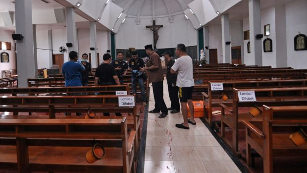 Man with knife injures four in attack on Indonesian church