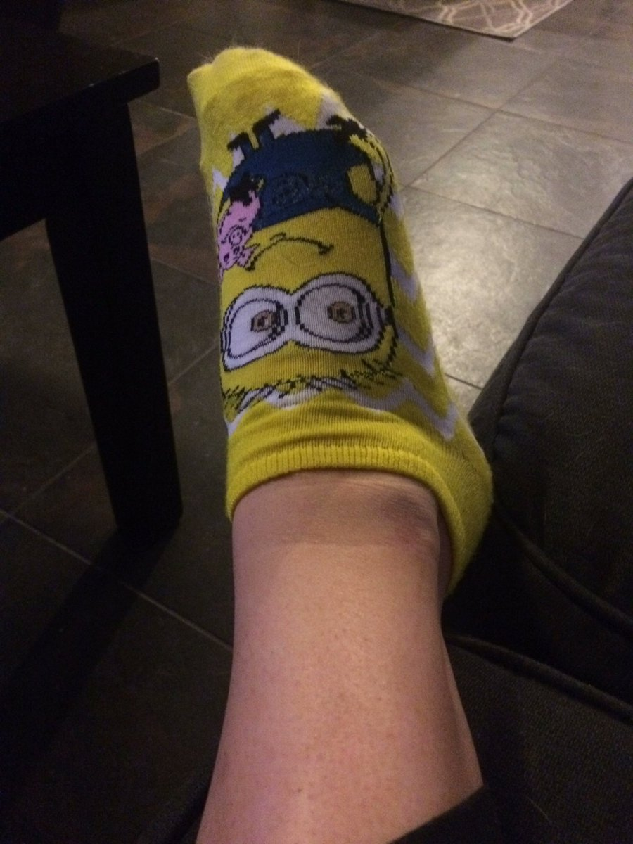 Rocking my fun socks for the night. They make me smile 😁#Minions wh2NaQ7CWV
