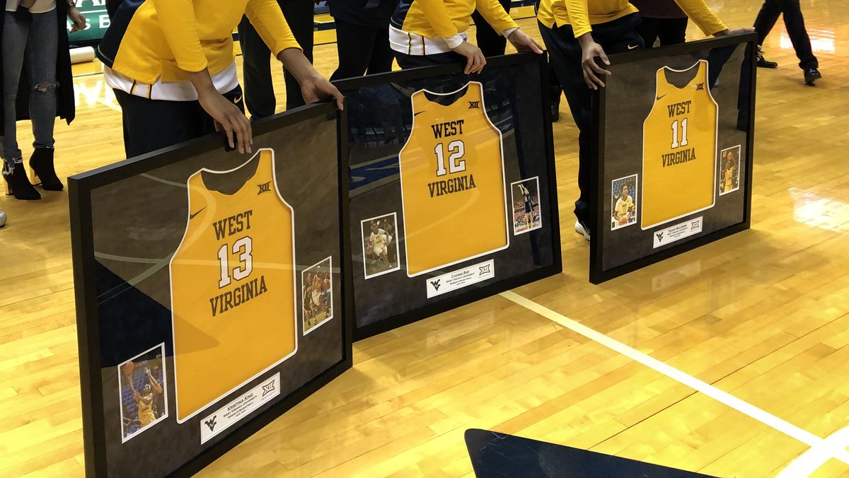 Before the game with Oklahoma State, @WVUWBB honors its three seniors: Teana Muldrow, Chania Ray and Kristina King. https://t.co/bvpG8nVtD1
