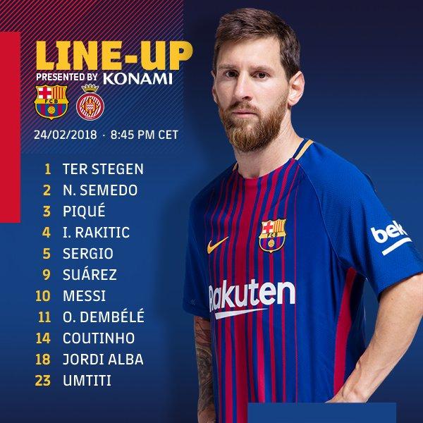RT @FCBarcelona: ⚽️ Starting XI ???????? #BarçaGirona https://t.co/iT3Hd6Gcxo