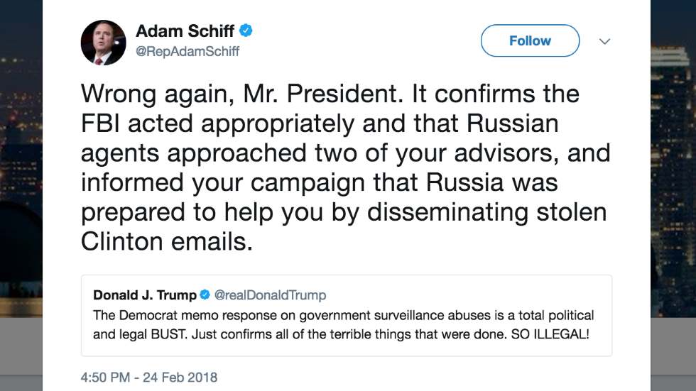 JUST IN: Schiff hits back at Trump claim Dem memo is a 'bust': 'Wrong again, Mr. President' https://t.co/2ysG7TdvPD https://t.co/7RoeVLuJHy