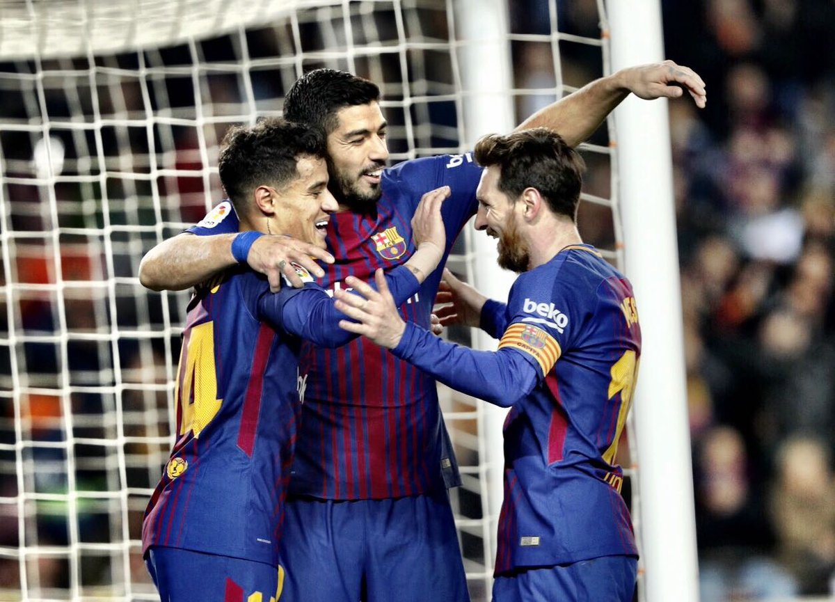 RT @FCBarcelona: ???????? #ForçaBarça ????????  ⚽ @LuisSuarez9  ???? @Phil_Coutinho  ???? #Messi https://t.co/oAx9F3PlTc
