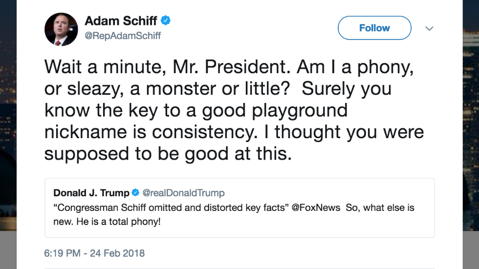 Schiff on Trump calling him 'phony': I though he was 'supposed to be good' at nicknames https://t.co/8oU8gflXRE https://t.co/cNRVZHEbQc