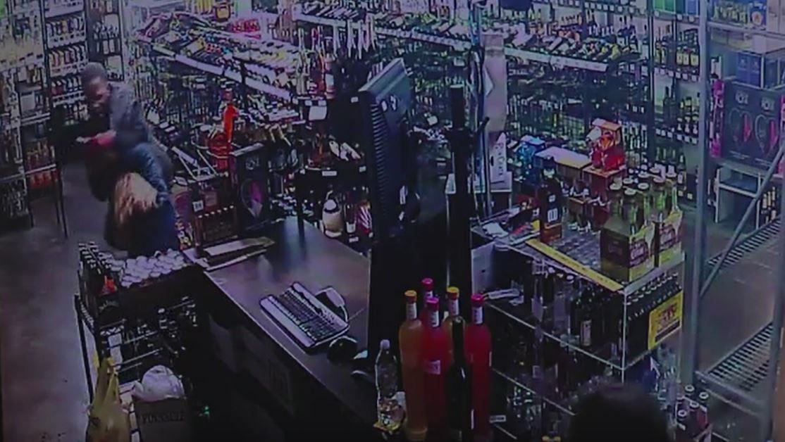 Suspect shot several times during liquor store robbery
