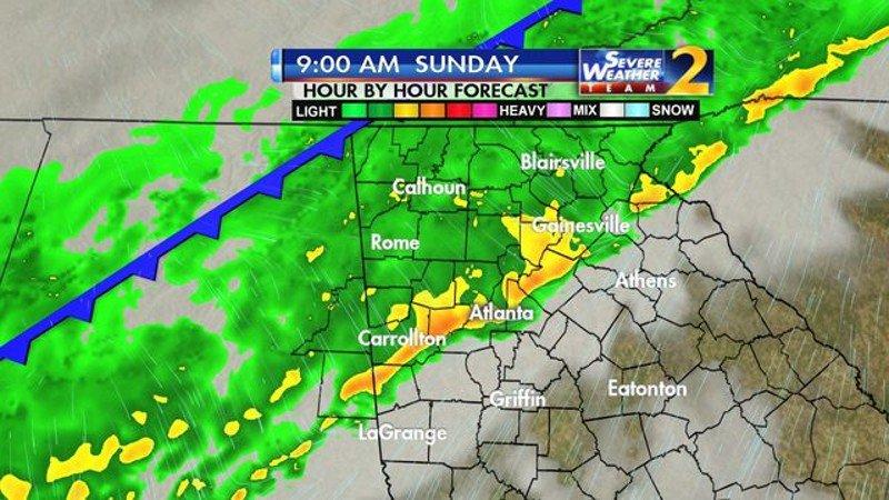 Rain moving through Atlanta drops temps to 60s