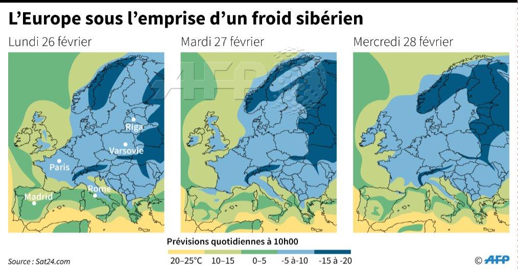 Carte De Leurope Meteo.Europe Carte De La Vague De Froid Siberien Qui Atteint L Europe