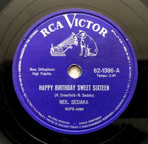 Neil Sedaka - Happy Birthday Sweet Sixteen/ Don\t Lead Me 78 Rpm Brazil Rca 1961