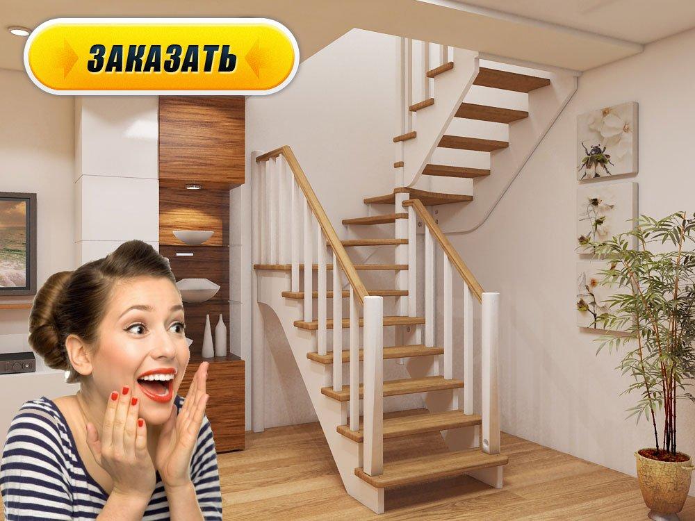 Лестница из дерева на 2 этаж своими руками 32