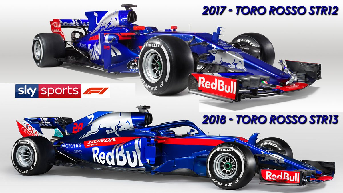 the 2018 toro rosso str13 compared to the 2017 toro rosso str12 skyf1 f1. Black Bedroom Furniture Sets. Home Design Ideas