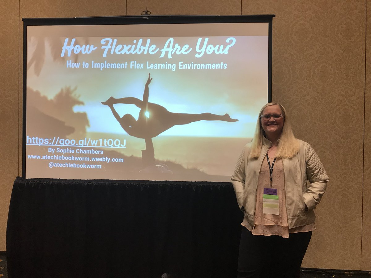 @atechiebookworm is ready to discuss flexible seating.  #METC18 #METCSpotlightEducator #hornetsr2 https://t.co/05MzK9Dxg8