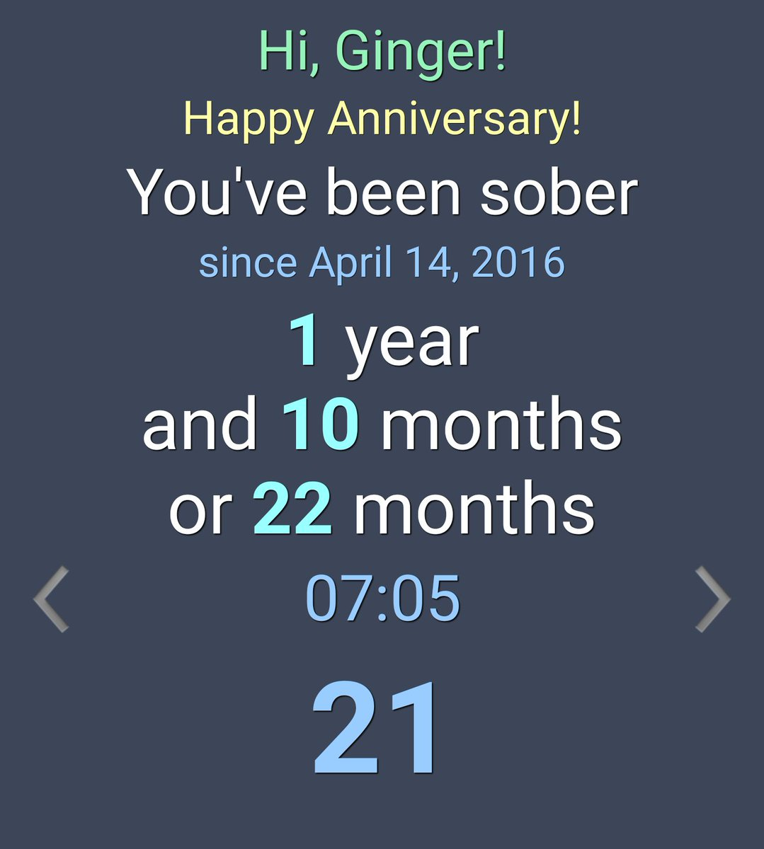 Today is 22 months sober from alcohol for me 😊 KNyEpZ4nJs