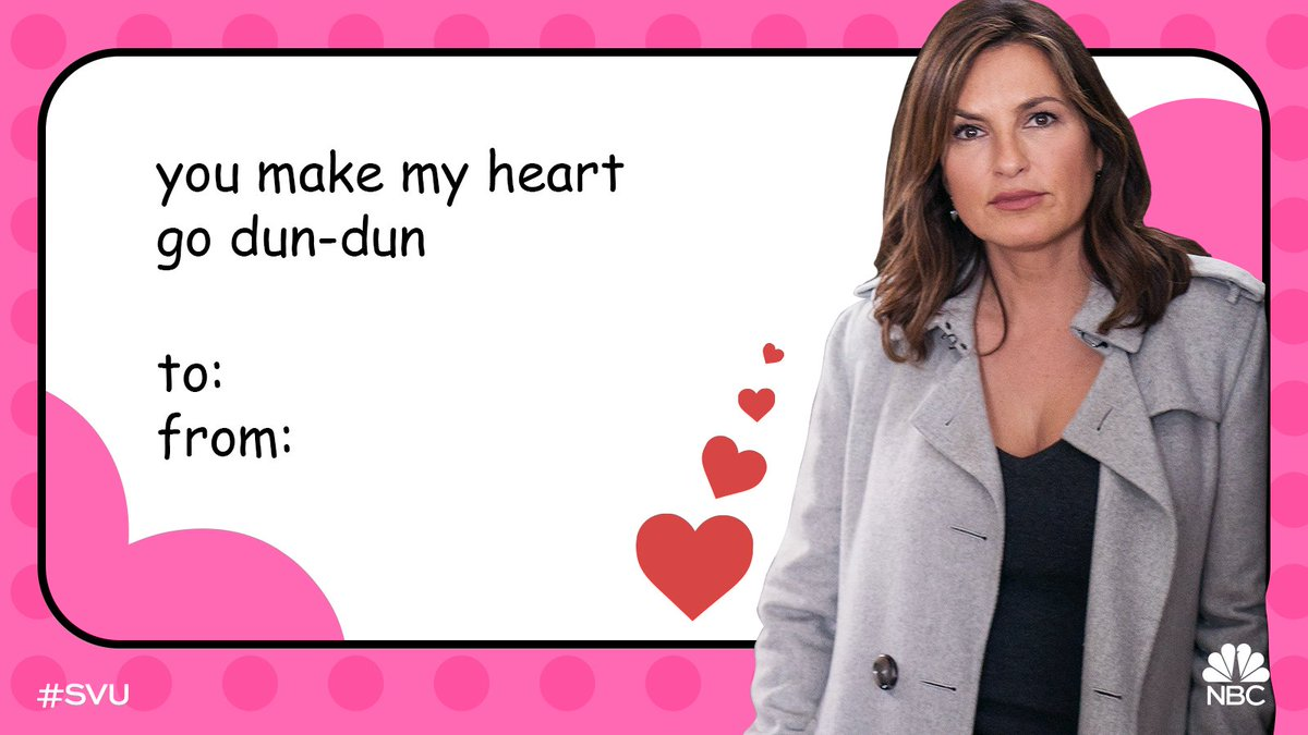 RT @nbcsvu: Roses are red,  Violets are blue,  We hope you spend your #ValentinesDay with #SVU. ❤️ https://t.co/iwJgcTBeJu