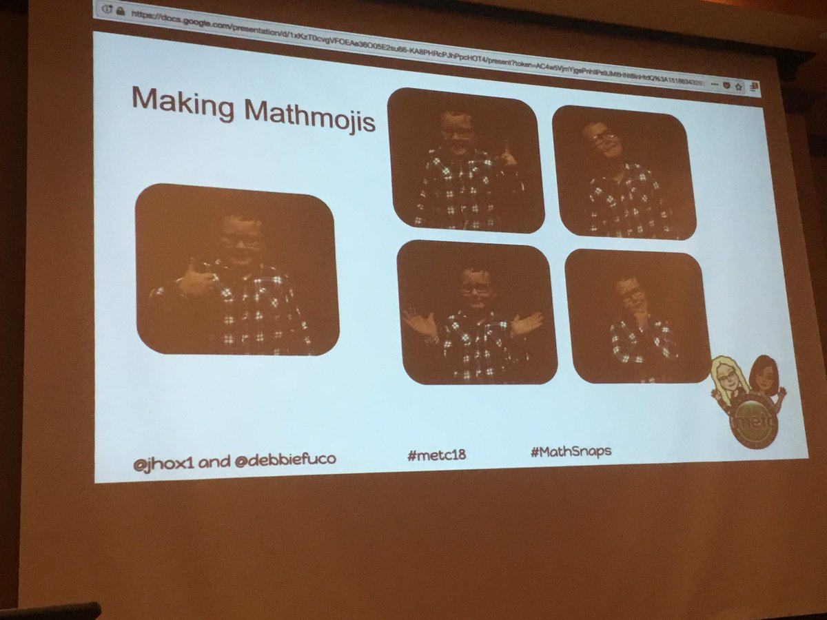 Learning about #mathmojis #mathsnaps with @debbiefuco & @jhox1 at #METC18. #visuallearning @TaraMartinEDU https://t.co/Mp2zIdrlU8