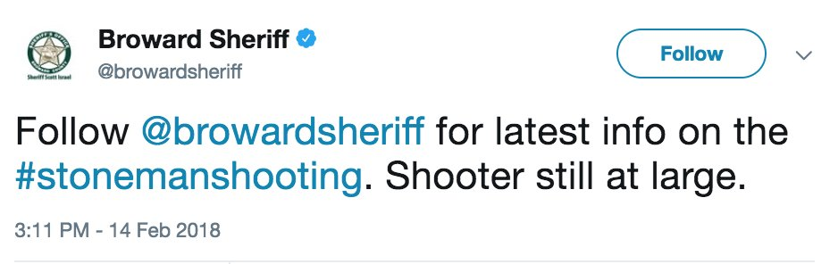 JUST IN: Shooter still at large, Broward County Sheriff's Office says.