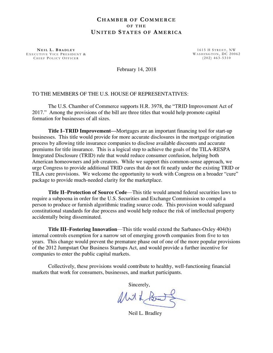 test Twitter Media - Read @USChamber letter to the House in support of the TRID Improvement Act of 2017. Passage would help promote capital formation for businesses of all sizes https://t.co/GyPiN9NLcd https://t.co/4bbhE2Sou8