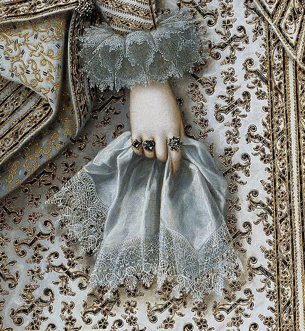 Detail ofPortrait of Elisabeth of France, 1620, by Rodrigo de Villandrando (1588-1622) https://t.co/DUKwYAE3VU