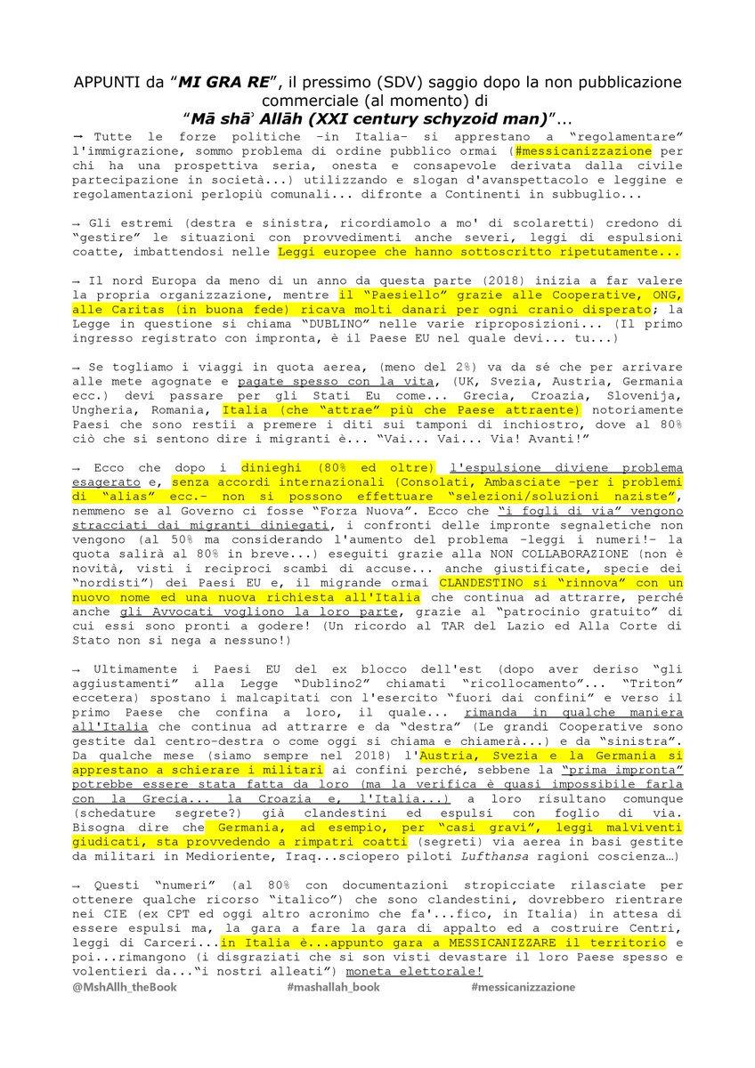 """Quanta""""paura""""(trasversale)c'è nel leggere e riconoscere i dati sull'IMMIGRAZIONE che nessuno vuole sapere? Paura di @CasaPoundItalia? Paura di @comunistieuropa? Eppure iniziare una""""risoluzione""""con le Leggi che abbiamo c'è. Domani mattina si potrebbe iniziare ma.. #mashallah_book https://t.co/l71eNUwjt0"""