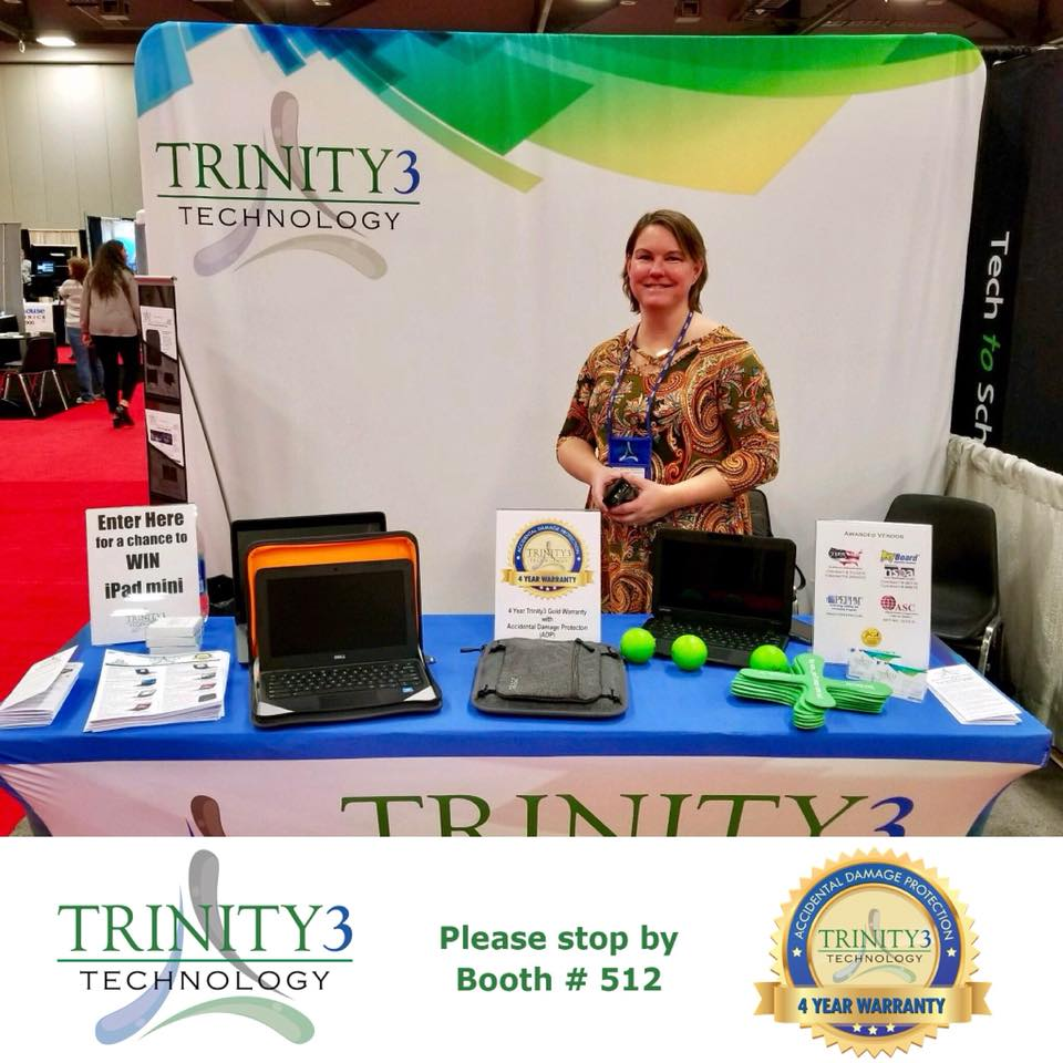 Its the last day of #OETC18! Make sure you stop by the #Trinity3 booth #512 to say hi to Erica and sign up to win a Lenovo N23 Chromebook! @OhioEdTech #TechThursdays https://t.co/35luseVrvM