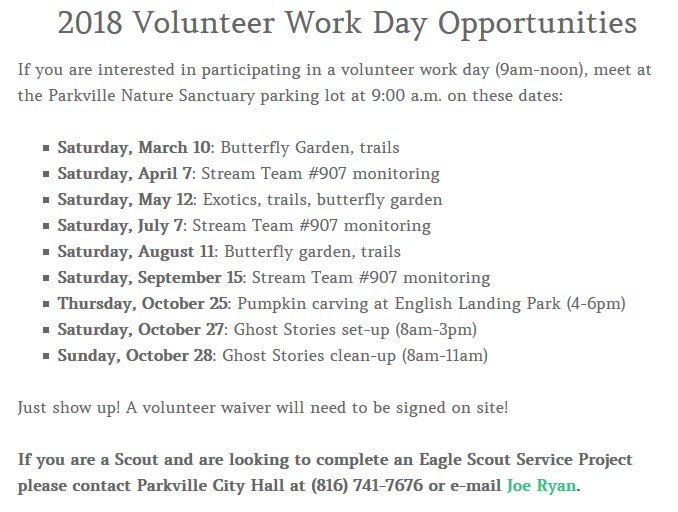 test Twitter Media - Looking for volunteer opportunities? @parkvillemo Nature Sanctuary is looking for volunteers for several work days this year. Visit the City's website at https://t.co/NCWBm3TIrA for more information. https://t.co/kVvrI8VHlb