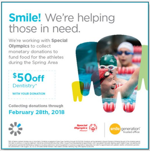 We are so excited! The Smile Generation trusted offices are holding a drive in February that will benefit our athletes during the Area Spring Games in April. Visit https://t.co/BqU1i98LmC to find a dentist near you. If you donate in February, you may just receive a special offer! https://t.co/OaTcPvogMY